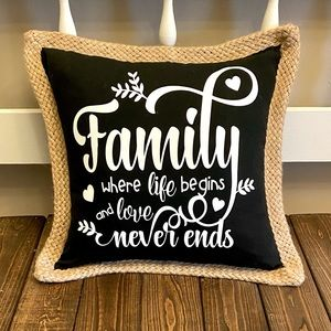 Handmade Farmhouse Family Throw Pillow